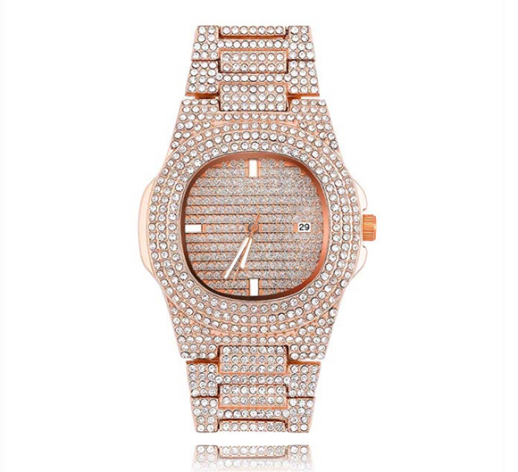 Rose Gold Color Watch Silver Simulated Diamond Watch Luxury Watch Hip Hop Bling Bust Down Watch