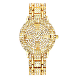Women's Silver Diamond Watch Roman Numeral Hip Hop Gold Watch Gift Bling Jewelry
