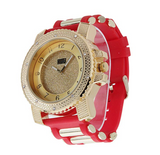 Red Bullet Band Gold Tone Simulated Diamond Watch Hip Hop Bling Jewelry Iced Out Watch