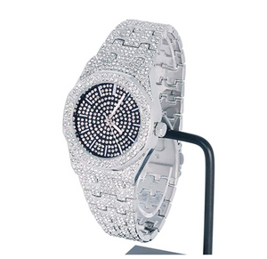 BLACK FACE SILVER DIAMOND WATCH OCTAGONAL WATCH ICED OUT HIP HOP BLING JEWELRY GIFT