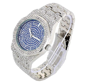RED/BLUE FACE SILVER DIAMOND WATCH OCTAGONAL WATCH ICED OUT HIP HOP BLING JEWELRY GIFT