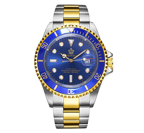 Blue Face Watch Gold Silver Color Two Tone Sports Dress Watch Luxury Business Watch Quartz Submariner