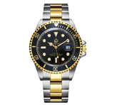 Black Face Watch Gold Silver Color Two Tone Sports Dress Watch Luxury Business Watch Quartz Submariner