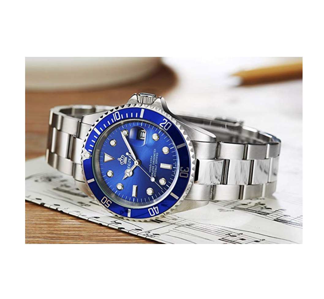 Blue Face Watch Silver Sports Dress Watch Luxury Business Watch Quartz Stainless Steel Submariner