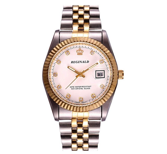 White Face Gold Silver Watch Simulated Diamons Dial Oyster Watch 2-Tone Datejust Dress Watch Gift
