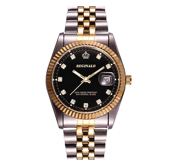 Black Face Gold Silver Color Watch Diamond Dial Oyster Watch 2-Tone Datejust Dress Watch Gift