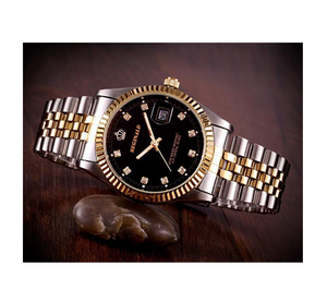 Black Face Gold & Silver Watch Diamond Dial Oyster Watch 2-Tone Datejust Gold Dress Watch Gift