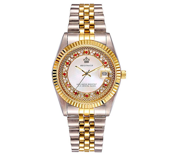 White Face Dress Watch Gold Silver Color Watch Simulated Diamond Dial Watch 2-Tone Datejust Dress Watch Gift