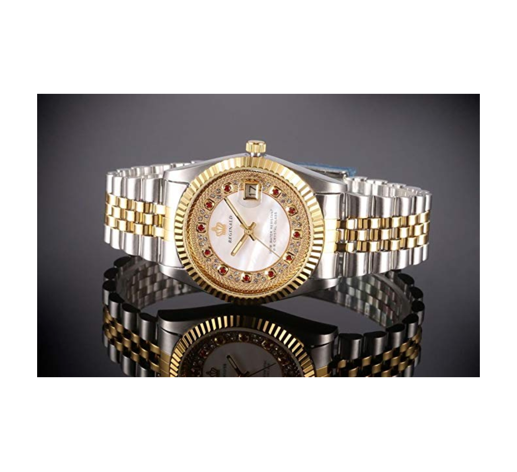 White Face Dress Watch Gold & Silver Watch Diamond Dial Watch 2-Tone Datejust Dress Watch Gift