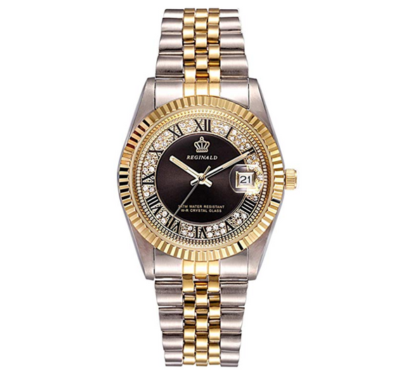 Black Face Dress Watch Gold Silver Color Watch Simulated Diamond Dial Watch 2-Tone Datejust Dress Watch Gift