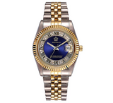Blue Face Dress Watch Gold Silver Tone Watch Simulated Diamond Dial Watch 2-Tone Datejust Dress Watch Gift