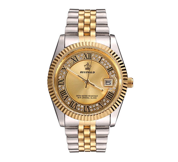 Gold Silver Color Watch Simulated Diamond Dress Watch Dial White Face Watch 2-Tone Datejust Dress Watch Gift