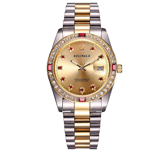 Women's Simulated Diamond Dress Watch Gold Silver Color Datejust Dress Watch Gift Luxury Watch