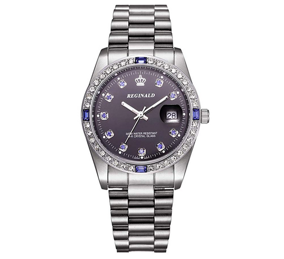 Women's Blue Simulated Diamond Dress Watch Gold Silver Color Datejust Dress Watch Gift Luxury Watch