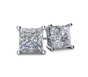 4ct. Gold Stud Earring Square Diamond Earring Men Silver Earrings Hip Hop Crystal Earrings Princess Cut