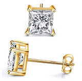 7mm Square Simulated-Diamond Earring Stud Earring Silver Color Metal Alloy Men Earring Hip Hop Crystal Earrings Princess Cut