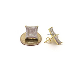 15mm Gold Color Metal Alloy Hip Hop Big Square Earrings Diamond Stud Earring Gold Men Earrings Princess Cut