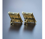 15mm Big Earring Simulated-Diamond Gold Color Metal Alloy Hip Hop Kite Square Stud Earring Gold Men Screw Back Earrings Princess Cut
