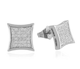 11mm Silver Color Metal Alloy Simulated-Diamond Earring Gold Color Hip Hop Square Stud Earring Men Earrings Princess Cut