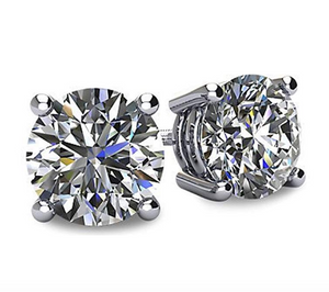 4ct. White Gold Color 925 Sterling Silver Simulated-Diamond Earring Round Stud Earring Silver Men Earrings Circle Cut