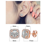 3ct. Silver & Rose Gold Color Metal Alloy Simulated-Diamond Earring Round Stud Earring Men Earring Hip Hop Crystal Earrings Circle Cut