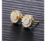 10mm Hip Hop Earrings Silver Gold Color Metal Alloy Diamond Earring Mens Round Stud Screw Back Earrings Circle Cut