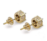 7mm Simulated-Diamond Hip Hop Earrings Silver & Gold Color Metal Alloy Earring Mens Round Stud Screw Back Earrings Circle Cut