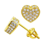 7mm Simulated-Diamond Heart Earrings Silver & Gold Color Metal Alloy Stud Screw Back Earring Heart