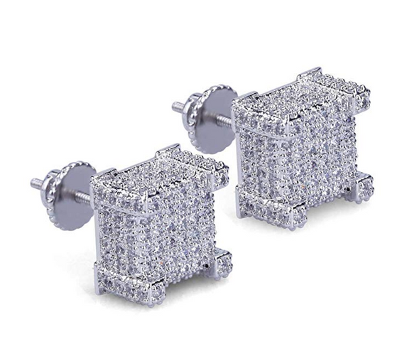 10mm Silver Color Metal Alloy Hip Hop Big Earrings Square Simulated-Diamonds Men Gold Hip Hop Jewelry Screw Back Earrings