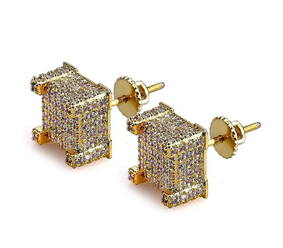 10mm Gold Color Metal Alloy Hip Hop Big Earrings Square Simulated-Diamonds Men Silver Color Hip Hop Jewelry Screw Back Earrings
