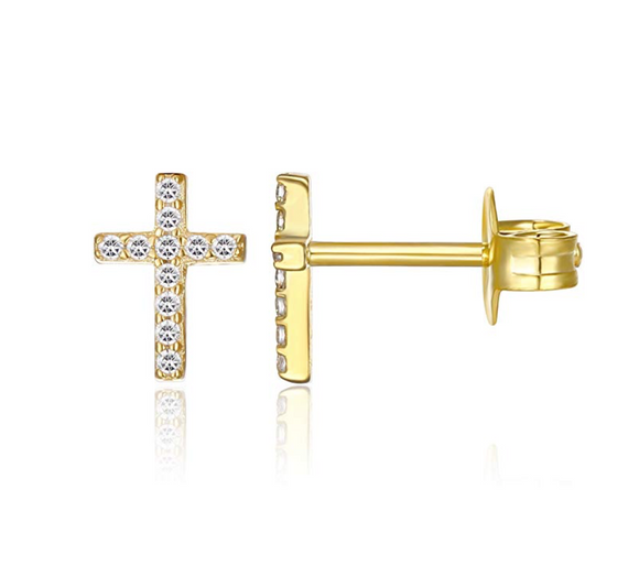 7mm Gold Tone Simulated-Diamonds Cross Earrings Jesus Christian Jewelry Diamond Cross Silver Color Metal Alloy Earring