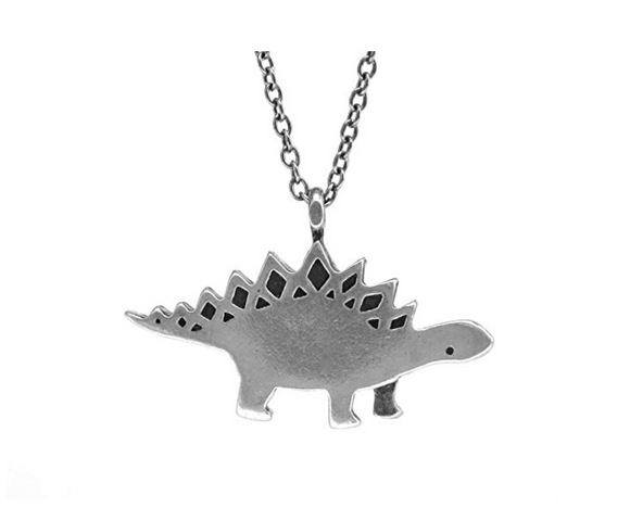 Stegosaurus Silver Dinosaur Necklace Dinosaur Pendant Chain T-rex Jewelry Triceratops 18in.