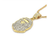 Bape Chain Gorilla Necklace Ape Hip Hop Jewelry A Bathing Ape Chain Bape Necklace Gold Color Metal Alloy Simulated Diamonds 24in.