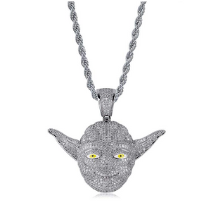 Star Wars Yoda Necklace Silver Color Metal Alloy Simulated Diamond Necklace Yoda Pendant Hip Hop Bling Yoda Chain Star Wars Yoda Jewelry 24in.