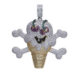Gucci Mane Ice Cream Necklace Emoji Skull Chain Silver Color Metal Alloy Iced Out Jewelry Hip Hop Chain IceCream Cone 24in