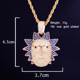 Rick & Morty Necklace Lil Uzi Vert Chain Rick Morty Simulated Diamond Cartoon Trippie Redd Hip Hop Chain 24in.