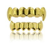 Gold Tone Vampire Fangs Gold Grillz Set Hip Hop Grillz Rapper Jewelry Grillz Silver Color The Joker Dental Grill Mod Kit
