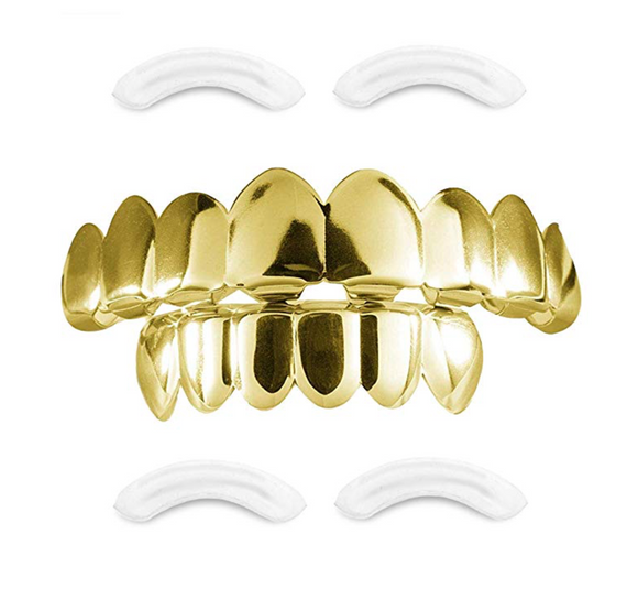 Gold Tone Grillz Teeth Set Hip Hop Grillz Mouth Teeth Caps Grillz Mold Kit Dental Grill Silver Color Metal Alloy Teeth Grillz