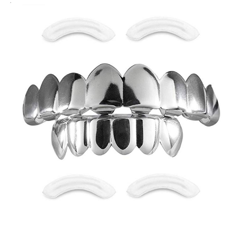 Silver Grillz Dental Grills Hip Hop Grillz Set Rapper Jewelry Grillz Silver Caps Grillz Mold Kit The Joker Grill