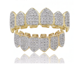 Gold Grillz Teeth Rapper Jewelry Iced Out Dental Grills Diamond Grillz Gold Fang Grillz Diamond Hip Hop Mold Kit