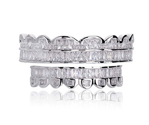 Silver Grillz Baguette Grillz Diamond Jewelry Dental Grills Fang Silver Grillz Baguette Diamond Mold Kit