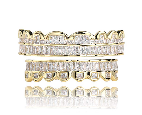 Baguette Grill Gold Tone Grillz Simulated-Diamond Jewelry Dental Grills Gold Fang Grillz Baguette Diamond Mold Kit