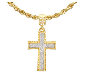 Gold Cross Necklace Jesus Necklace Cross Pendant Hip Hop Rapper Bling Jewelry Diamond Twist Rope Chain