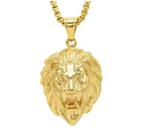 African Lion Necklace Hebrew Israelite Jewelry Lion Head Chain Leo Lion of Judah Necklace Gold Color Metal Alloy 24in.