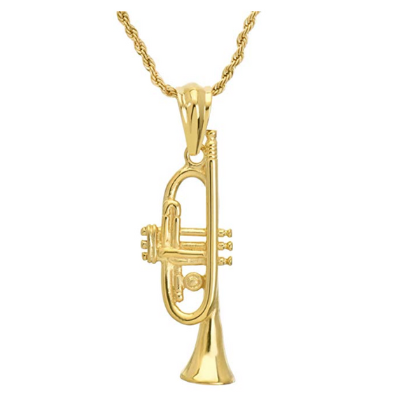Trumpet Pendant Necklace Music Rope Twist Chain Trumpet Horn Gold Color Metal Alloy 24in.