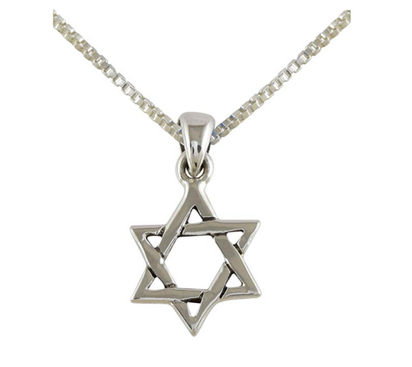 925 Sterling Silver Star of David Necklace Hebrew Israelite Jewish Star Chain Israel Jewelry Judah Pendant 24in.