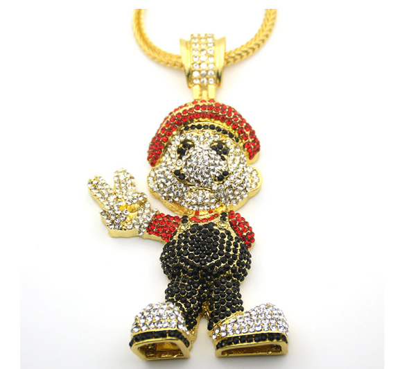 Mario Necklace Super Mario Bros Chain Hip Hop Jewelry Cartoon Mario Pendant Nintendo 64 Game Gold Silver Color Metal Alloy 30in.