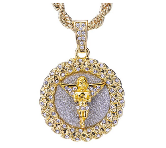 Angel Necklace Iced Out Angel Medallion Pendant Rope Twist Chain Hip Hop Simulated Diamond Silver Color Metal Alloy