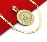 Lion Medallion Necklace Versace Chain Iced Out Simulated-Diamond Gold Color Metal Alloy African Lion Leo Jewelry 24in.