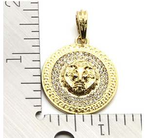 Lion Medallion Necklace Versace Chain Iced Out Diamond Gold African Lion Jewelry 24in.